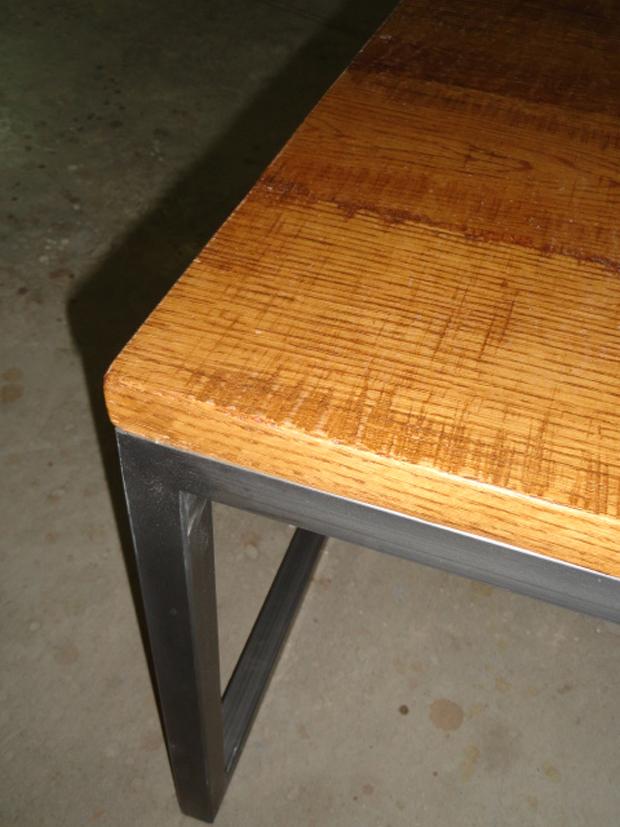 Esquina mesa roble y hierromuebles de la granja muebles for Mesas para esquinas