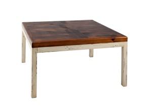 Sobre con dibujo en aspa de color madera oscura y patas modelo basic con color blanco envejecido.
