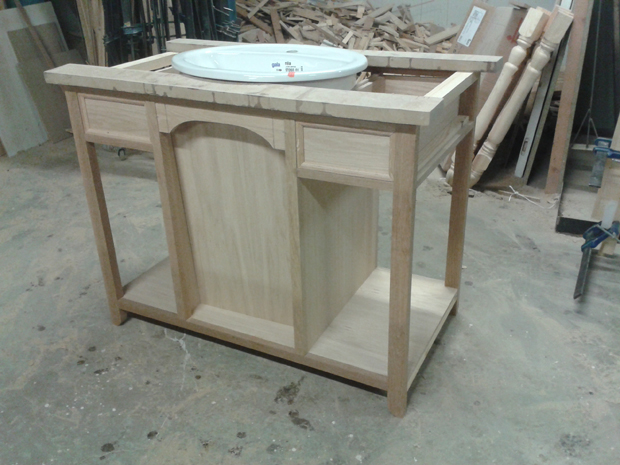 estructura mueble baño con lavabo