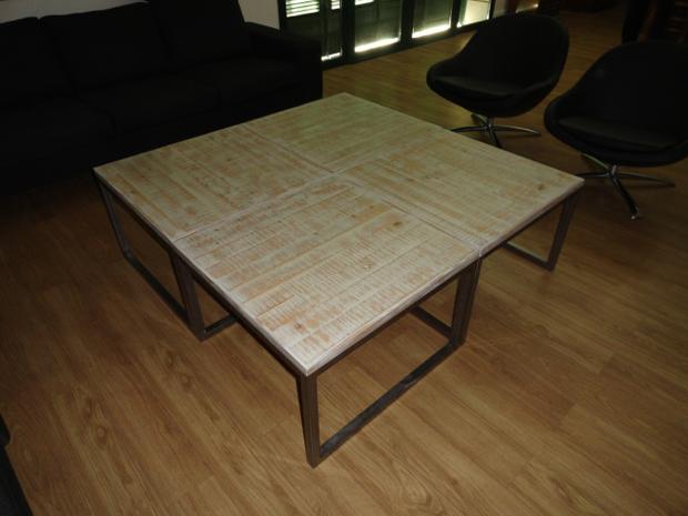 Una mesa de centro dos acabados
